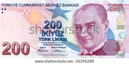 200 Lira banknote front - stock photo