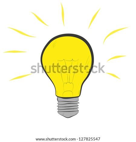 lit light bulb isolated on white - stock photo