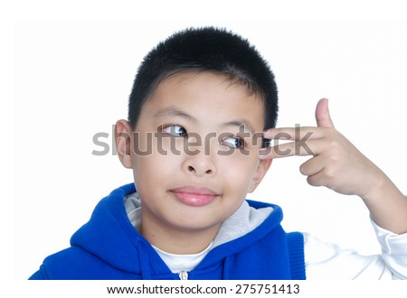 little boy with hand gesture on a over white background - stock photo