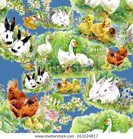 Little fluffy cute watercolor ducklings, chickens and hares with eggs seamless pattern on blue background - stock photo