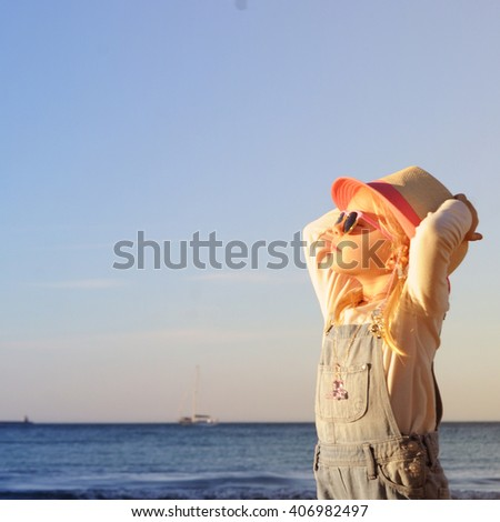 Little girl enjoy  family vacation - stock photo