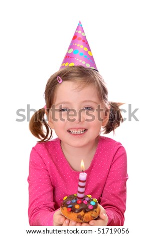 Little girl with birthday cake isolated on white background - stock photo