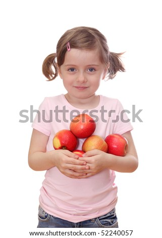 Little girl with red apples - stock photo