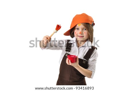 Little house painter - stock photo