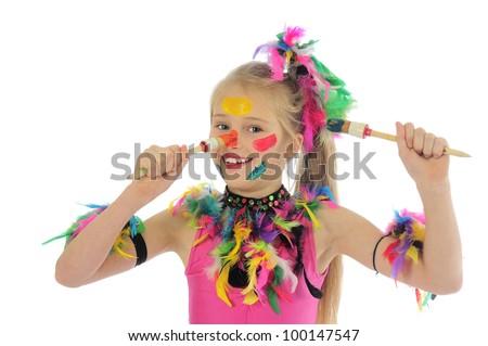 little messy artist - stock photo