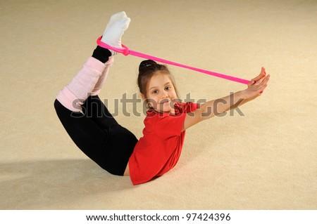 Little sporty girl - stock photo