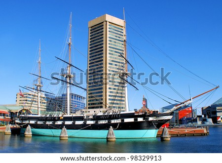 Located at Baltimore's Inner Harbor:  Baltimore, Maryland / Constellation - stock photo