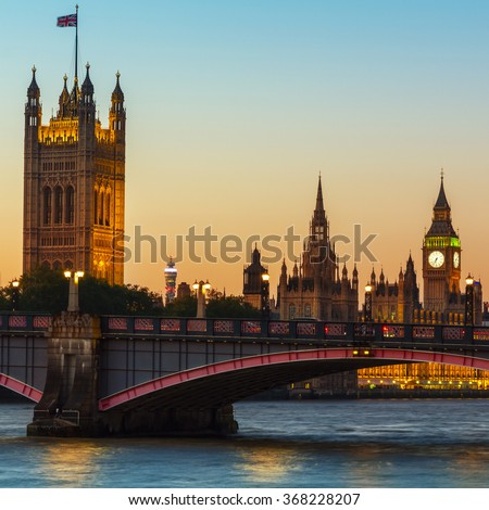 London, UK Big Ben, Houses of Parliament,  Lambeth Bridge at dusk. - stock photo