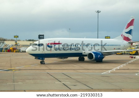 LONDON, UNITED KINGDOM - FEBRUARY 15, 2014: British Airways Plane in the Gatwick Airport in London on February 15, 2014, UK - stock photo