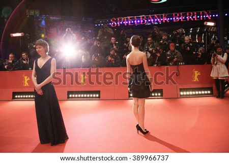 Lou de Laage attends the 'Alone in Berlin' (Jeder stirbt fuer sich) premiere during the 66th Berlinale Film Festival Berlin at Berlinale Palace on February 15, 2016 in Berlin, Germany. - stock photo
