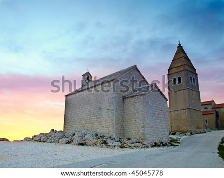 Lubenice. Croatian village on the rocky Adriatic coast,island Cres. - stock photo