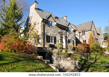 Luxury House  in Westmount neighborhood Montreal, Quebec, Canada - stock photo