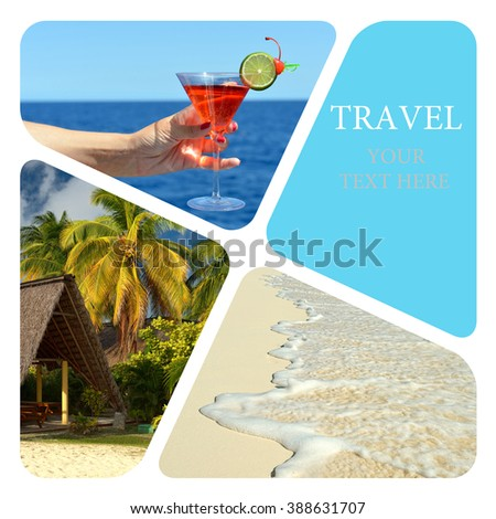 Luxury spa resort. Wave of the sea on the sand beach. Travel collage - stock photo