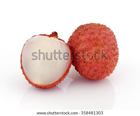 Lychee (Litchi chinensis) on white background - stock photo