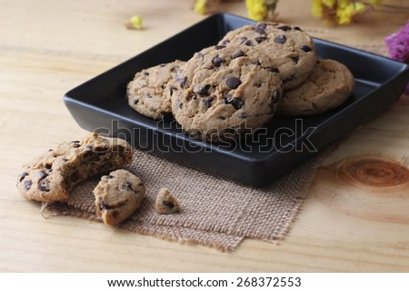 macro chocolate chip cookie - stock photo