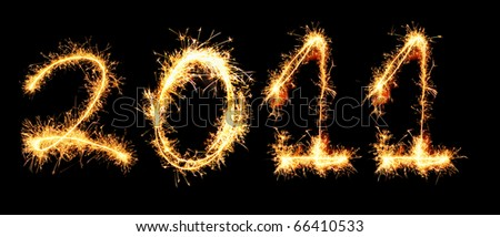 2011 made of sparkles - stock photo