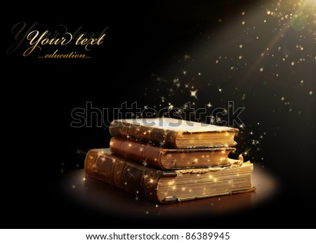magic books with magic light. Education - stock photo