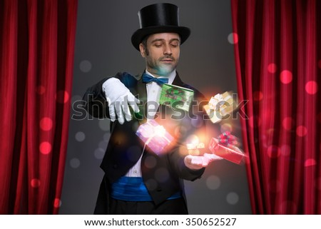 Magician have magic in his hands and making illusion with magic gift    - stock photo