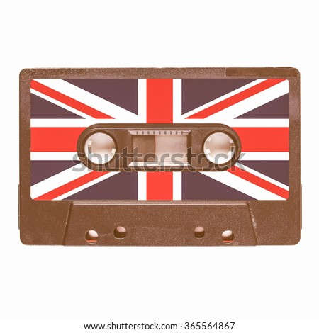 Magnetic tape cassette for audio music recording - British music vintage - stock photo