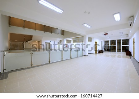 main hall in modern office building - stock photo