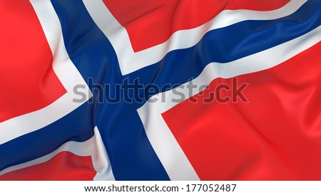 Majestic Flag of Norway - stock photo