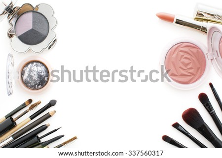 2016 makeup trends,smoky and peachy,there are pink and dark or smoky eyeshadow ,peachy lip and peachy cheeks - stock photo