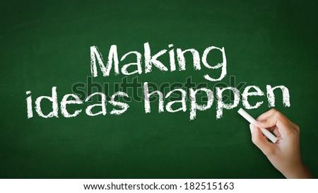 """""""Making Ideas Happen"""" Chalk Illustration - stock photo"""