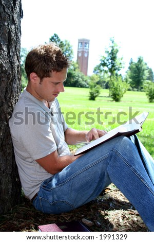 Male student reading by tree - stock photo