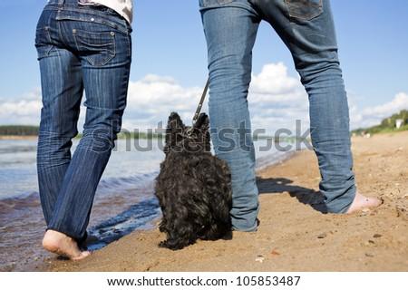 Man's and female bare feet go with a dog on coast - stock photo