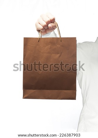 man with a paper bag - stock photo