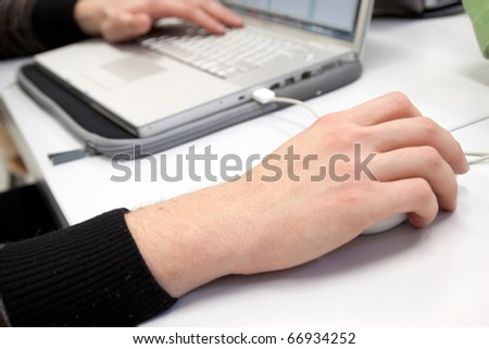 man working at computer - stock photo