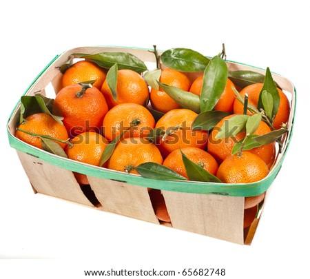 mandarins box  isolated on white - stock photo