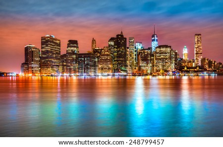 Manhattan skyline at sunrise, New York City. USA. - stock photo