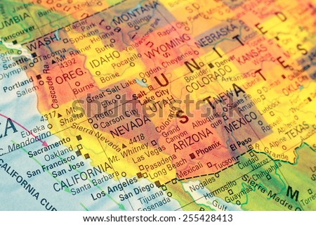 Map North West USA .  Close-up macro image of  map North West America. Selective focus  - stock photo