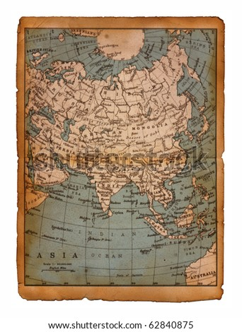 40 Map of Asia edit in a travel guide of 1888 - stock photo