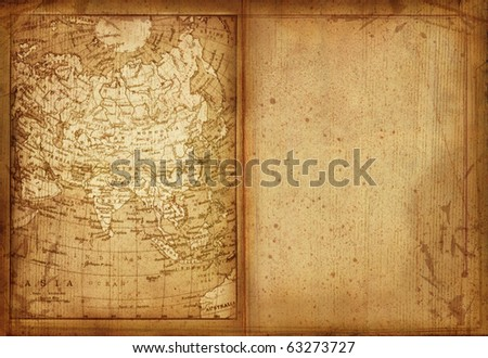 34 Map of Asia edit in a travel guide of 1888 - stock photo
