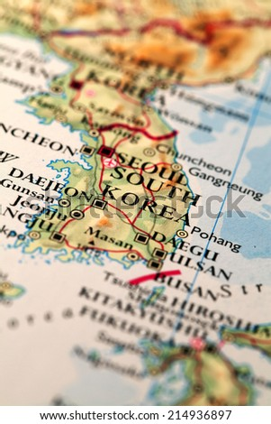 Map Seoul South Korea - stock photo