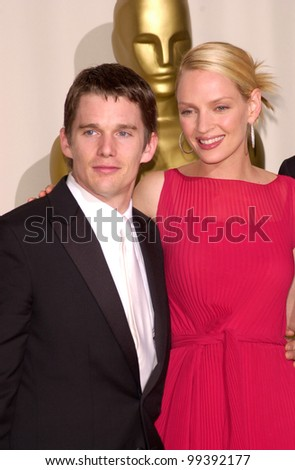 26MAR2000:  Actor ETHAN HAWKE & actress UMA THURMAN at the 72nd Academy Awards.  Paul Smith / Featureflash - stock photo