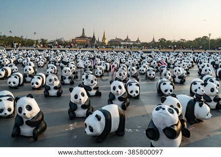 """04 MAR 2016 : """"1600 Pandas World Tour Coming to Thailand"""", collaborated with the WWF in order to preserve the Panda around the world, Bangkok, Thailand - stock photo"""