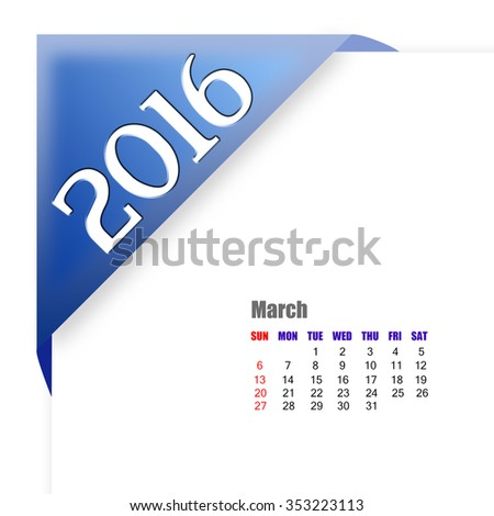 2016 March calendar - stock photo