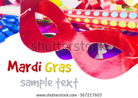 Mardi gras masques close up isolated on white background - stock photo
