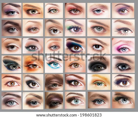 Mascara. Great Variety of Women's Eyes. Set of Eyeshadow - stock photo