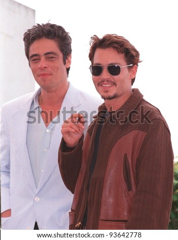 """15MAY98:  Actors JOHNNY DEPP (right) & BENICIO DEL TORO at the Cannes Film Festival to promote his new movie """"Fear and Loathing in Las Vegas."""" - stock photo"""