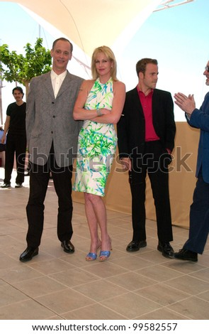 19MAY2000: Actress MELANIE GRIFFITH with actor STEPHEN DORFF (right) & director JOHN WATERS at the Cannes Film Festival to promote her movie Cecil B. DeMented.  Paul Smith / Featureflash - stock photo