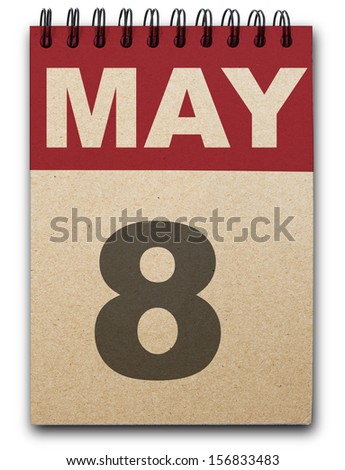 8  May calendar on recycle paper - stock photo