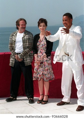 15MAY97:  CUBA GOODING JR., ANNABELLA SCIORRA & ROBIN WILLIAMS at the 1997 Cannes Film Festival. - stock photo