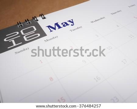 2016 May on calendar page, desk calendar - stock photo