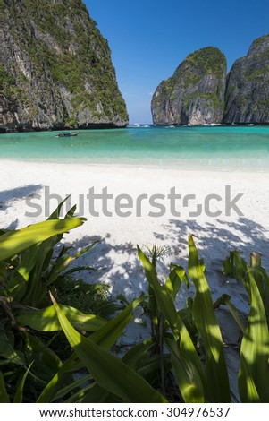 Maya Bay, one of the most beautiful tropical beaches in Thailand.  - stock photo