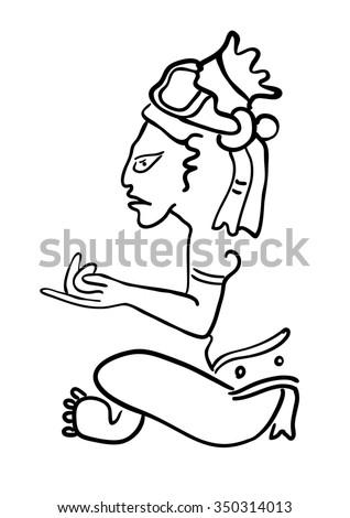 Maya Image of the ancient Deity - stock photo