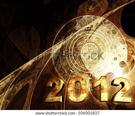 2012. Maya prophecy. Horizontal background with Maya calendar - stock photo